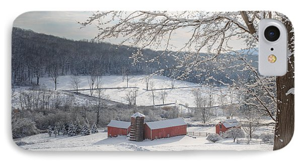 New England Winter Farms Morning Square Phone Case by Bill Wakeley