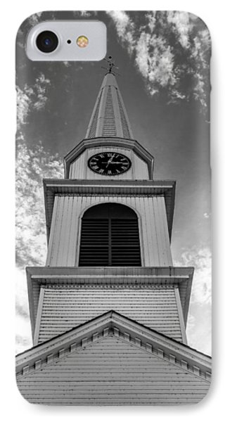 New Hampshire Steeple Detailed View Black And White IPhone Case by Karen Stephenson