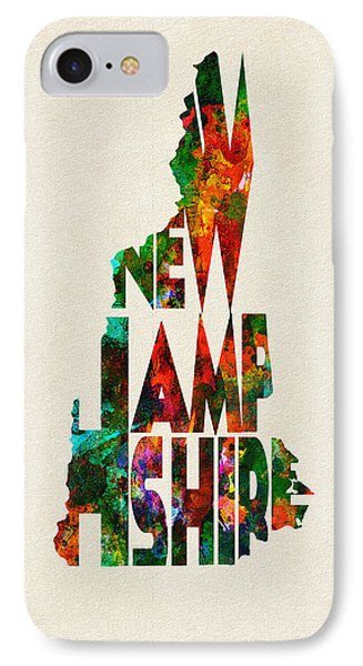 New Hampshire Typographic Watercolor Map IPhone Case by Ayse Deniz