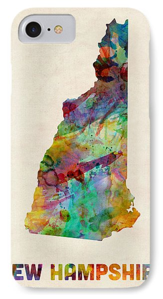 New Hampshire Watercolor Map IPhone Case