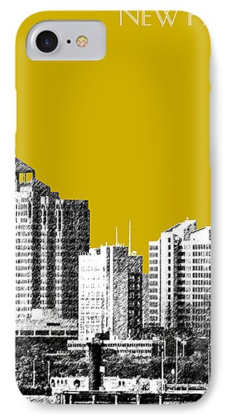 New Haven Skyline - Gold Phone Case by DB Artist