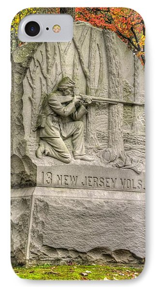New Jersey At Gettysburg - 13th Nj Volunteer Infantry Near Culps Hill Autumn Phone Case by Michael Mazaika