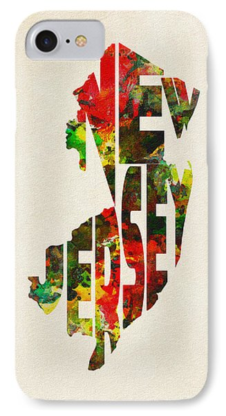 New Jersey Typographic Watercolor Map IPhone Case by Ayse Deniz