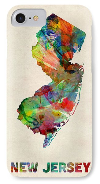New Jersey Watercolor Map IPhone Case by Michael Tompsett