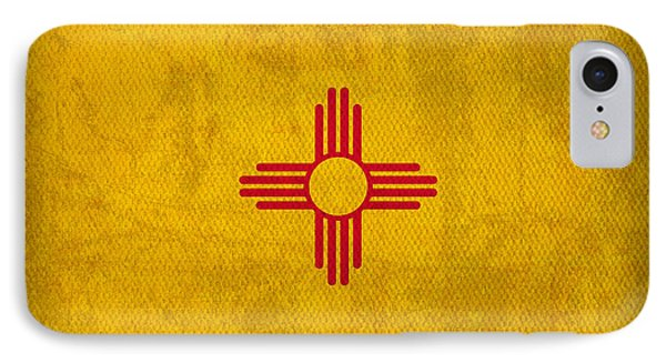 New Mexico State Flag Art On Worn Canvas Phone Case by Design Turnpike