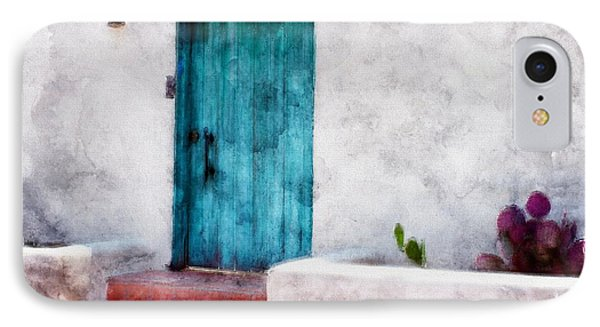 New Mexico Turquoise Door And Cactus  IPhone Case by Barbara Chichester