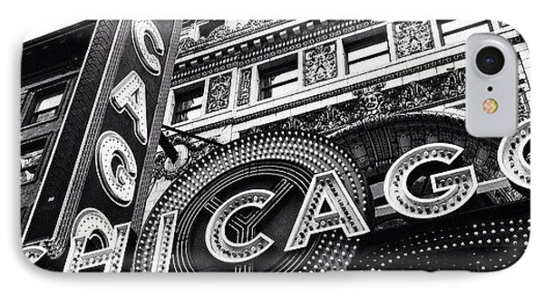 Chicago Theatre Sign Black And White Photo IPhone Case by Paul Velgos