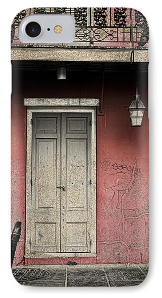 IPhone Case featuring the photograph New Orleans French Quarter Balcony And Doorway by Ray Devlin