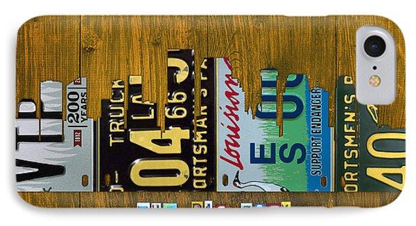 New Orleans Louisiana City Skyline Vintage License Plate Art On Wood IPhone Case