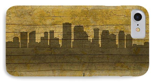 New Orleans Louisiana Skyline Silhouette Distressed On Worn Peeling Wood IPhone Case