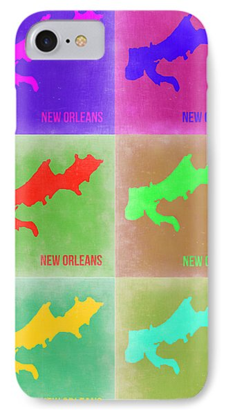 New Orleans Pop Art Map 3 IPhone Case by Naxart Studio