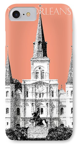 New Orleans Skyline Jackson Square - Salmon Phone Case by DB Artist