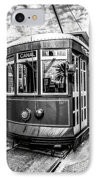 New Orleans Streetcar Black And White Picture IPhone Case by Paul Velgos