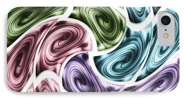 IPhone Case featuring the mixed media New Swirls by Ann Calvo