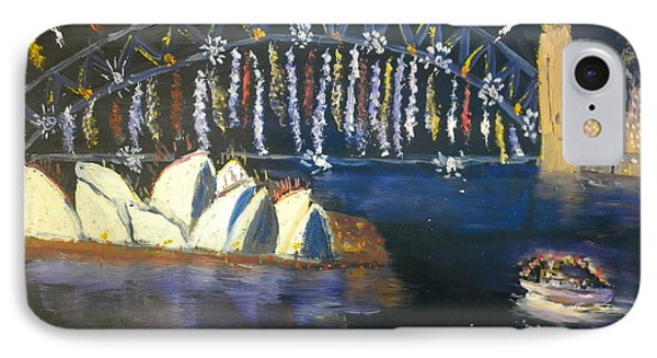 IPhone Case featuring the painting New Year Eve On Sydney Harbour by Pamela  Meredith