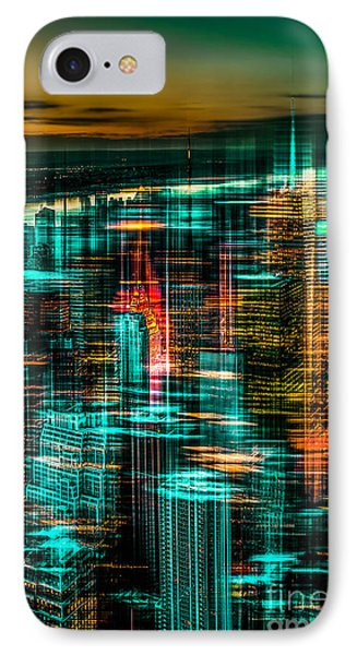 New York - The Night Awakes - Green Phone Case by Hannes Cmarits