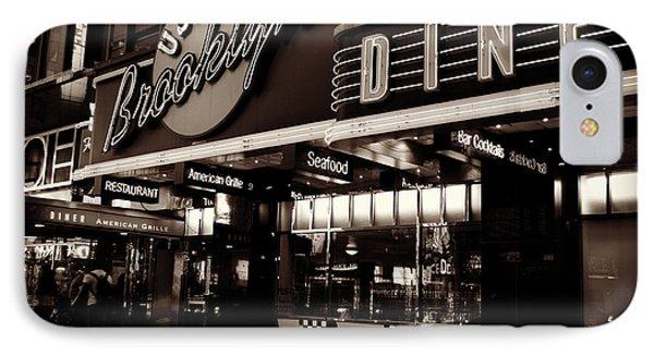 New York At Night - Brooklyn Diner - Sepia Phone Case by Miriam Danar