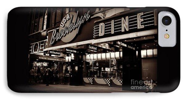 New York At Night - Brooklyn Diner - Sepia IPhone Case by Miriam Danar