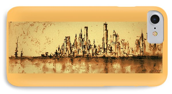 New York City Skyline 79 - Water Color Panorama IPhone Case