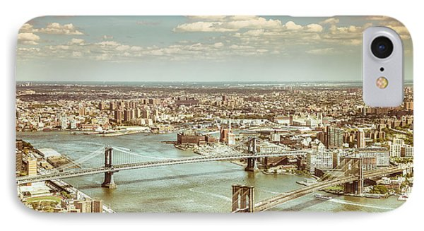 New York City - Brooklyn Bridge And Manhattan Bridge From Above IPhone 7 Case by Vivienne Gucwa