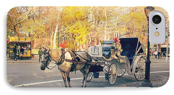 New York City - Horse And Carriage - Autumn IPhone Case by Vivienne Gucwa