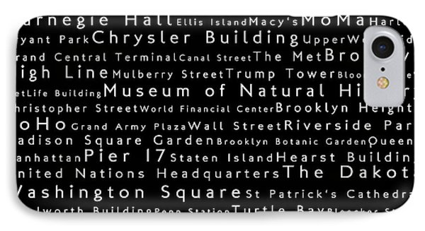 New York City In Words Black IPhone Case by Sabine Jacobs