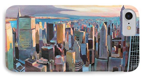 New York City - Manhattan Skyline In Warm Sunlight Phone Case by M Bleichner