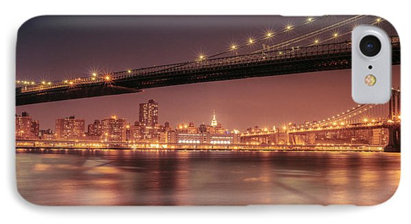 New York City Night - Two Bridges IPhone Case