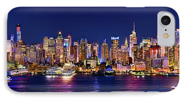 New York City Nyc Midtown Manhattan At Night IPhone Case by Jon Holiday