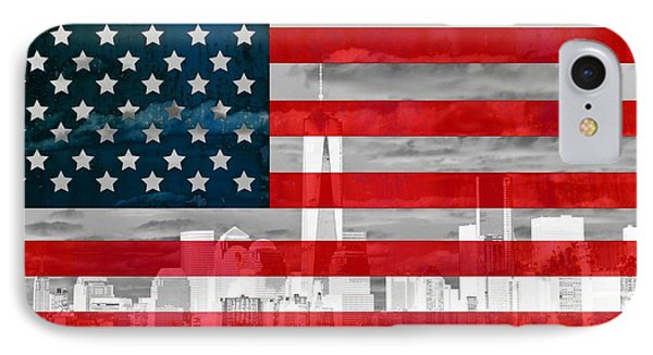 New York City Skyline And American Flag IPhone Case by Dan Sproul