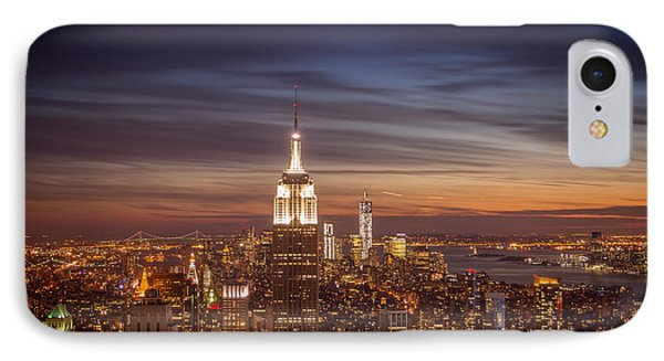 City Sunset iPhone 7 Case - New York City Skyline And Empire State Building At Dusk by Vivienne Gucwa