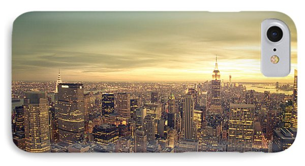 City Sunset iPhone 7 Case - New York City - Skyline At Sunset by Vivienne Gucwa