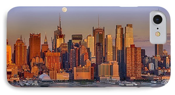 New York City Skyline Full Moon And Sunset IPhone Case by Susan Candelario