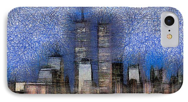 New York City Blue And White Skyline IPhone Case by Georgi Dimitrov