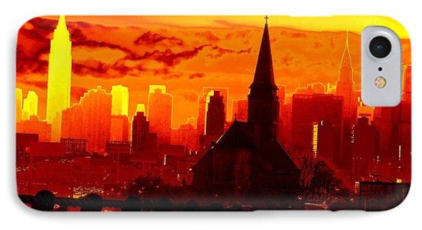 New York City Skyline Inferno Phone Case by Ed Weidman