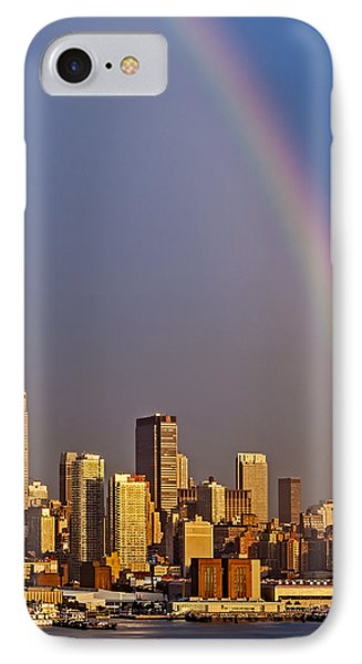 New York City Skyline Rainbow Phone Case by Susan Candelario