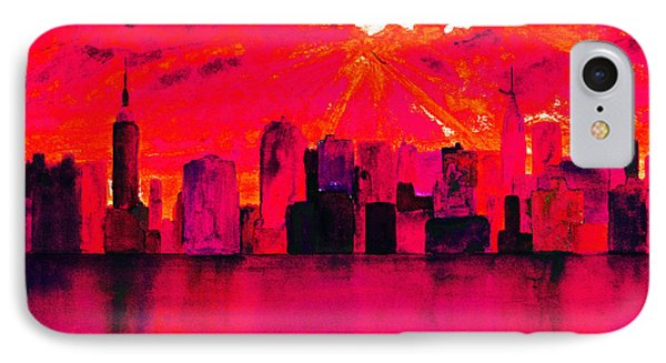 New York City Skyline Red IPhone Case by Ken Figurski