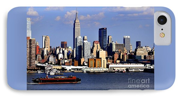 New York City Skyline With Empire State And Red Boat Phone Case by Kathy Flood