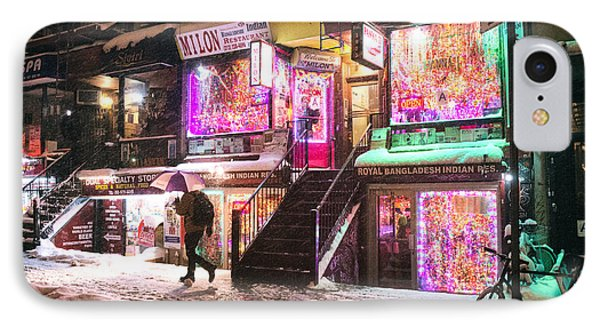 New York City - Snow And Colorful Lights At Night IPhone Case by Vivienne Gucwa