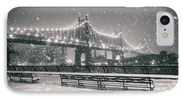 New York City - Snow At Night - Sutton Place IPhone Case by Vivienne Gucwa