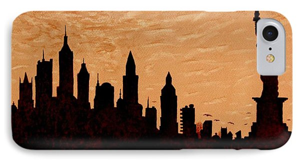 New York City Sunset Silhouette Phone Case by Georgeta  Blanaru