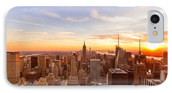City Sunset iPhone 7 Case - New York City - Sunset Skyline by Vivienne Gucwa
