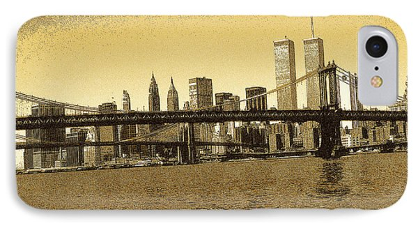 New York Downtown Manhattan Skyline - Yellow Panorama IPhone Case
