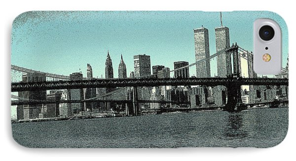 New York Downtown Manhattan Skyline - Blue Panorama IPhone Case