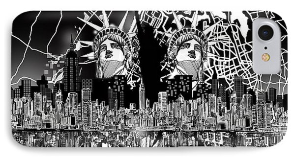 New York Map Black And White 2 IPhone Case by Bekim Art