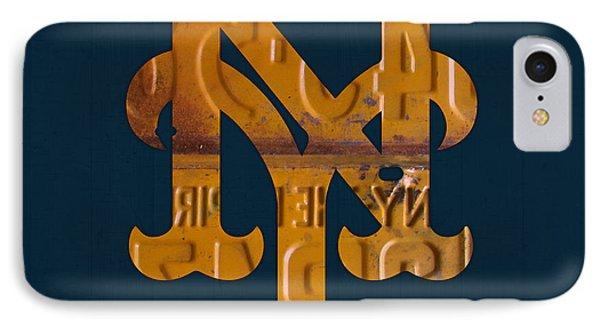 New York Mets iPhone 7 Case - New York Mets Baseball Vintage Logo License Plate Art by Design Turnpike