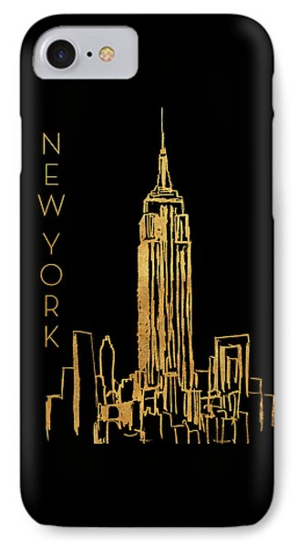 New York On Black IPhone Case by Nicholas Biscardi
