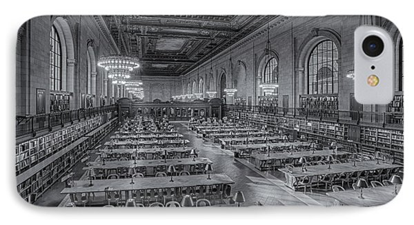 New York Public Library Rose Room Bw Phone Case by Susan Candelario