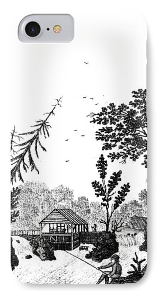 IPhone Case featuring the painting New York Saw Mill, 1792 by Granger