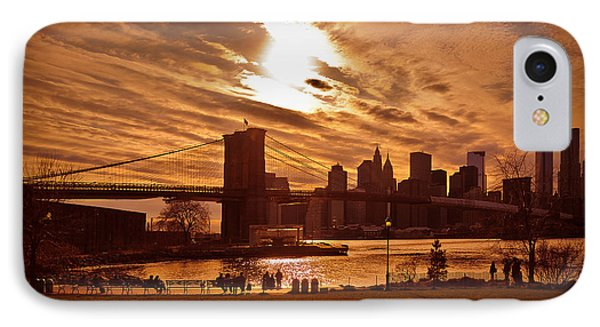 IPhone Case featuring the photograph New York Skyline And Brooklyn Bridge -- Late Afternoon by Mitchell R Grosky